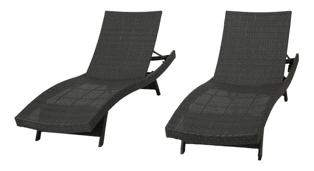 Olivia Outdoor Lounge Chairs, Set Of 2, Gray