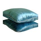 """Handmade Velvet Blue Pillow Covers, 22""""x22"""" Velvet Pillow Covers, Blue Shimmer"""