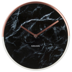 Marble Delight Clock, Copper and Black