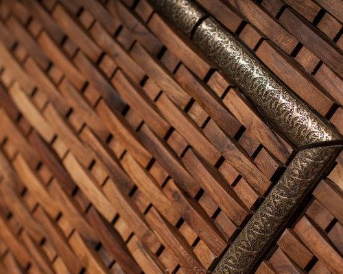 Mahogany Basketweave Mosaic w. Metal Liner - Tile