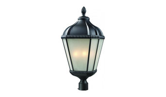 Black Waverly 4 Light Outdoor Post Light with White Seedy Shade
