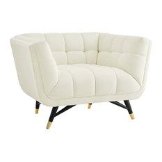 Adept Upholstered Velvet Armchair, Ivory