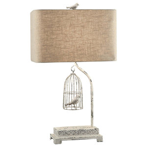 Birds In Cloche Accent Lamp Farmhouse Table Lamps By