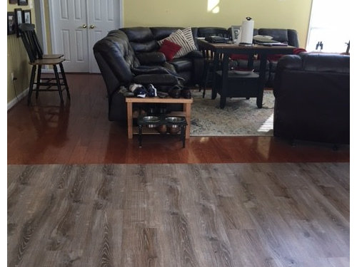 I don\'t like my new kitchen floors and the transition to family room