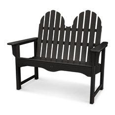 "Trex Outdoor Furniture Cape Cod Adirondack 48"" Bench, Charcoal Black"
