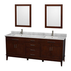 "Hatton 80"" Dark Chestnut Double Vanity, White Carrera Marble Top and Square Sink"