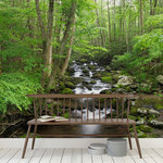 Murals Your Way - Great Smoky Mountains Wallpaper Mural, Large - A stream courses over many rocks and through a lush springtime forest in The Great Smoky Mountains National Park. This wallpaper mural will bring serenity and a bit of nature to any space in your home.