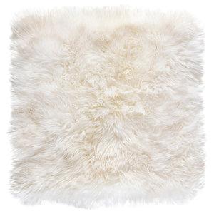 Square New Zealand Sheepskin Rug, 70x70 cm, Natural White