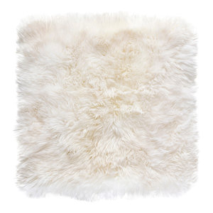 Square New Zealand Sheepskin Rug, 70x70 cm, Natural White