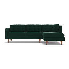 Apt2b Logan 2 Piece Sectional Sofa Evergreen Velvet Chaise On Right