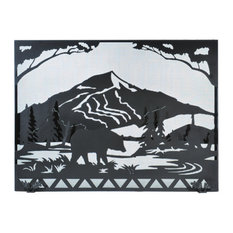 "Meyda Lighting 49""W X 36""H Bear Creek Fireplace Screen, Black Mesh"