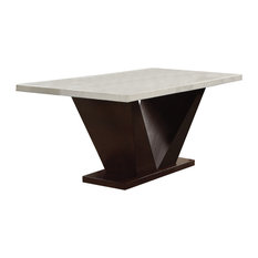 Forbes Dining Table, White Marble and Walnut
