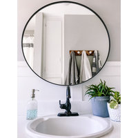 Cheyenne Framed Round Mirror, Black