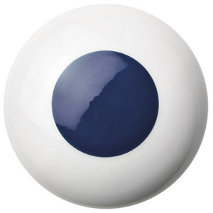 Anne Black Dots Handle, Blue, Large