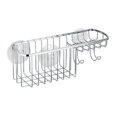 iDesign Gia Suction Shower Caddy Combo Basket, Chrome