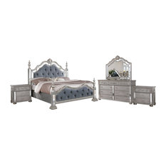 All in One Furniture - Gray Traditional 5-Piece Tufted Panel Bedroom Set, Queen - Bedroom Furniture Sets