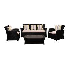 Atlantic Staffordshire 4-Piece Black Wicker Seating Set With Light Grey Cushions