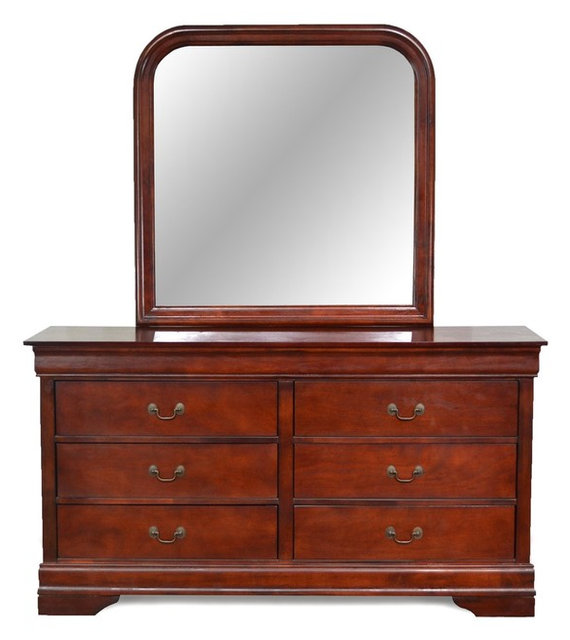 Louis Philippe Cherry 6 Drawer Dresser U0026 Mirror