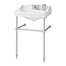 """Cheviot Products Essex Console Sink, 8"""" Faucet Drilling, Brushed Nickel Frame"""