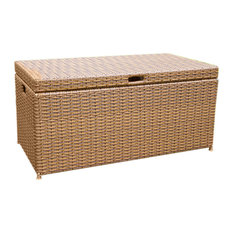Jeco Inc - Jeco Inc Wicker Patio Furniture Deck Box, Honey - Deck Boxes And