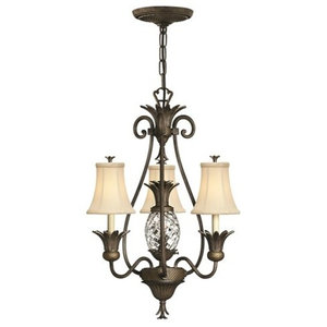 Traditional 3-Arm Chandelier, Ivory Silk Shades, Pearl Bronze