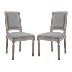 Modway Court Upholstered Dining Side Chair In Light Gray (Set Of 2)
