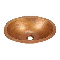 Oval Copper Bathroom Sink, Small by SoLuna, Dark Smoke, Flat Rim