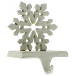 HomArt - Snowflake Stocking Holder - Cast Iron - Antique White - Resting atop your mantle or sitting upon a shelf, add some extra holiday flare to your stockings with our cast iron Snowflake Stocking Holder.