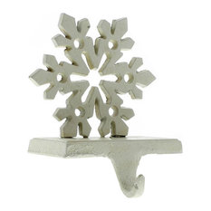 AREOhome - Snowflake Stocking Holder - Cast Iron - Antique White - Christmas Stockings and Holders