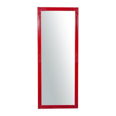 Carved Corner Slim Full Length Wall Mirror, Red, 72x180 cm