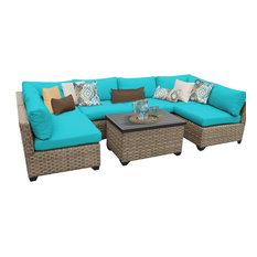 TKClassics - Hampton Outdoor Wicker 7-Piece Patio Set, Aruba - Outdoor Lounge Sets