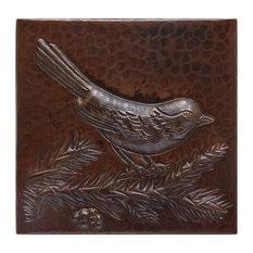"Bird On Branch Design Hammered Copper Tile, 4""x 4"""