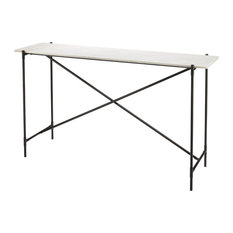 Statesman Console Table, White Marble and Black Iron