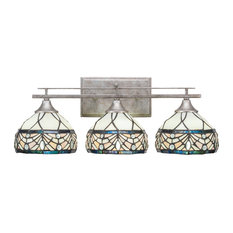 "Uptowne 3 Light Bath Bar With 7"" Royal Merlot Tiffany Glass"