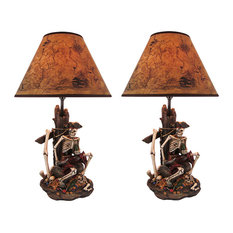 SET OF 2 Pirate Skeleton W/ Treasure Table Lamps W/ Shades 21 inches tall