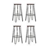 Hairpin Metal Kitchen Stool, Dark Wood, Black Steel, Medium, Set of 4