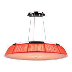 Modern Italian 21-Light Chrome Clear Crystal LED Pendant Red String Shade