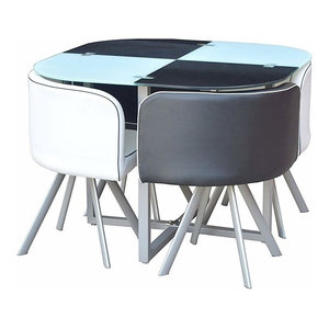 Modern Dining Set, Table and Faux Leather Chairs, White and Black