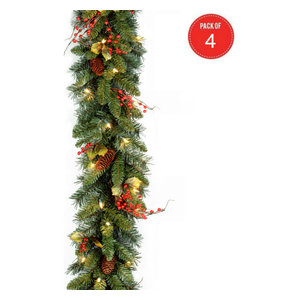 """9' x10"""" Classical Collection Garland,Red Berries,Cones,Holly Leaves(Pack of 4)"""