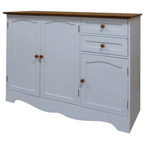 Contemporary Sideboard, White Painted MDF With 3-Door and 2-Storage Drawer