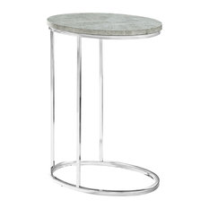 Monarch Contemporary Chrome Metal Oval Accent Table - Grey Cement