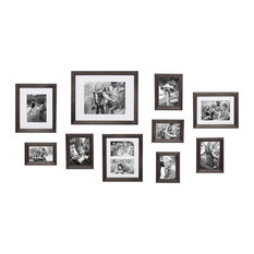 """Bordeau""""x Gallery Wall Kit, Set of 10 With Assorted Size Frames, Gray"""