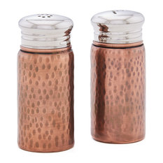 """Hammered Antique Copper Salt and Pepper Shaker Set with Round Top, 3"""""""