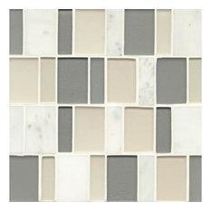 "12""x12"" Manhattan Glass/Stone Brick Pattern Mosaic, Tribeca"