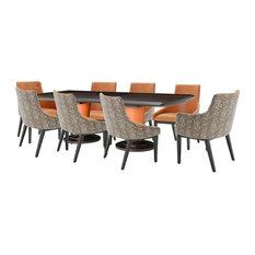 AICO 21 Cosmopolitan 9-Piece Rectangular Diningroom Set, Orange