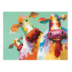 Curious Cows I Art Painted On Canvas