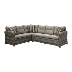 Furniture of America Callen Patio Faux Rattan Sectional Set, Gray