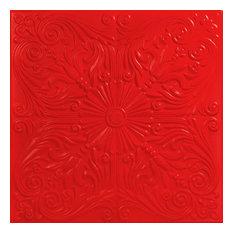 """Spanish Silver, Styrofoam Ceiling Tile, 20""""x20"""", #R139, Red"""
