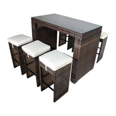 Roseland 7-Piece Glass Bar-Height Dining Set, Shades of Brown