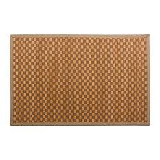 """Checkered Natural Bamboo Floor Mat, 48x72"""", Beige"""